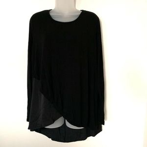 Ava & Viv Long Sleeve Blouse Hi-Lo Hem Black Tunic